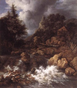 in einem Bergous Northern Landschaft Jacob van Ruisdael Isaakszoon Fluss Wasserfall Ölgemälde